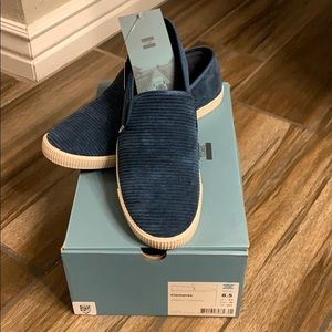 TOMS Clemente blue corduroy slip ons